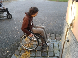 Wheel chair on cobble stone is not easy to handle